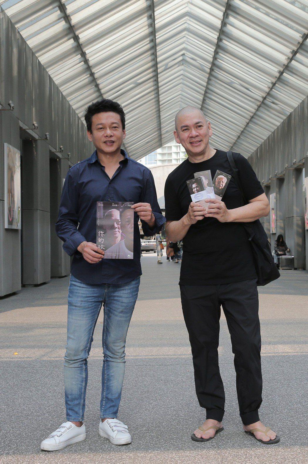 電影「你的臉」導演蔡明亮(右)、主角李康生。記者林俊良/攝影
