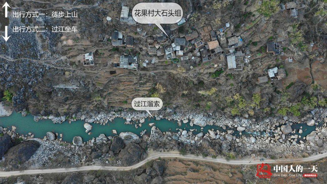 花果村大石頭組與外界的通聯只有兩種途徑:一是「徒步」,二是「跨江溜索」。 圖/取...