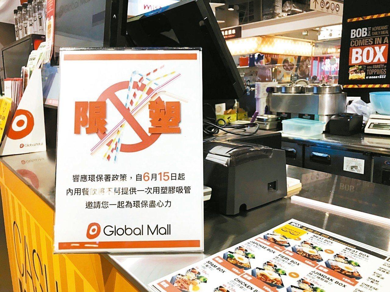 環球購物中心6月15日起,內用餐飲不提供一次性塑膠吸管。 圖/環球購物中心提供