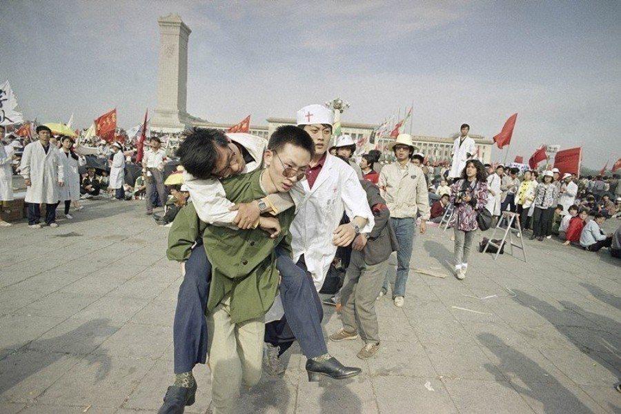 攝於1989年5月16日,北京天安門。 圖/美聯社