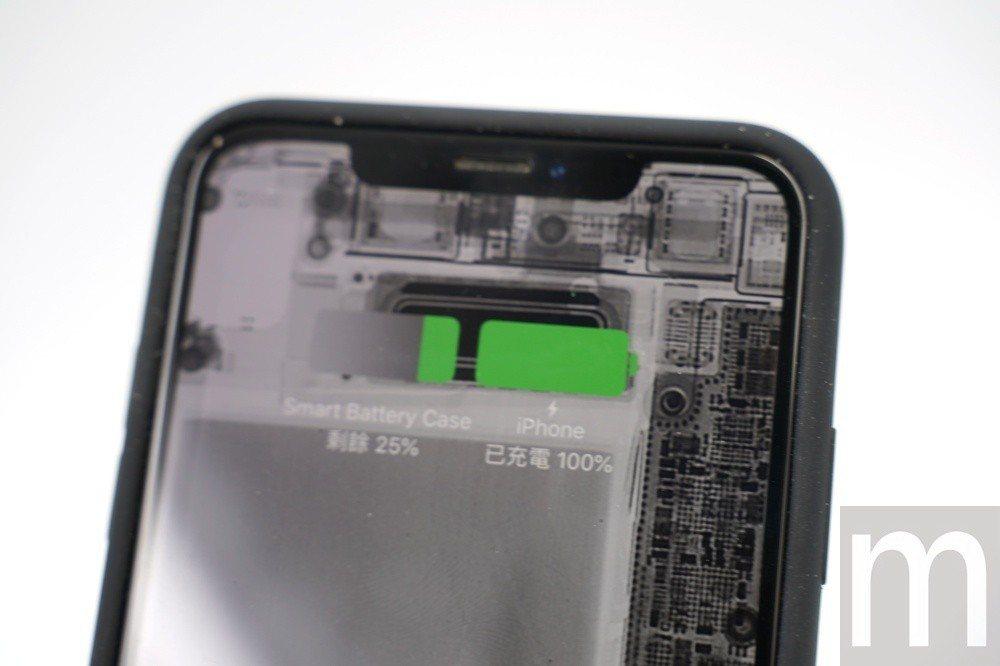 充電時,聰穎電池護殼也會配合讓iPhone螢幕同步顯示殘存電量