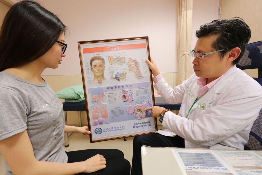 黃建文(右)建議,民眾喘咳不要拖,越早發現、接受治療,效果越好。圖/亞大醫院提供