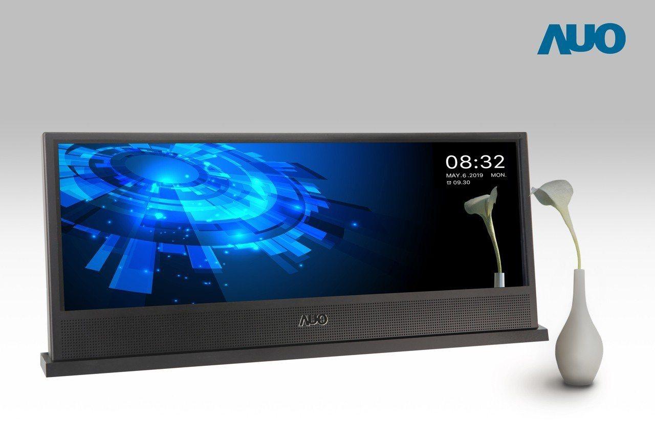 友達發表全球首支運用奈米壓印技術製作的15.6吋大型金屬線柵偏光片鏡面顯示器。圖...