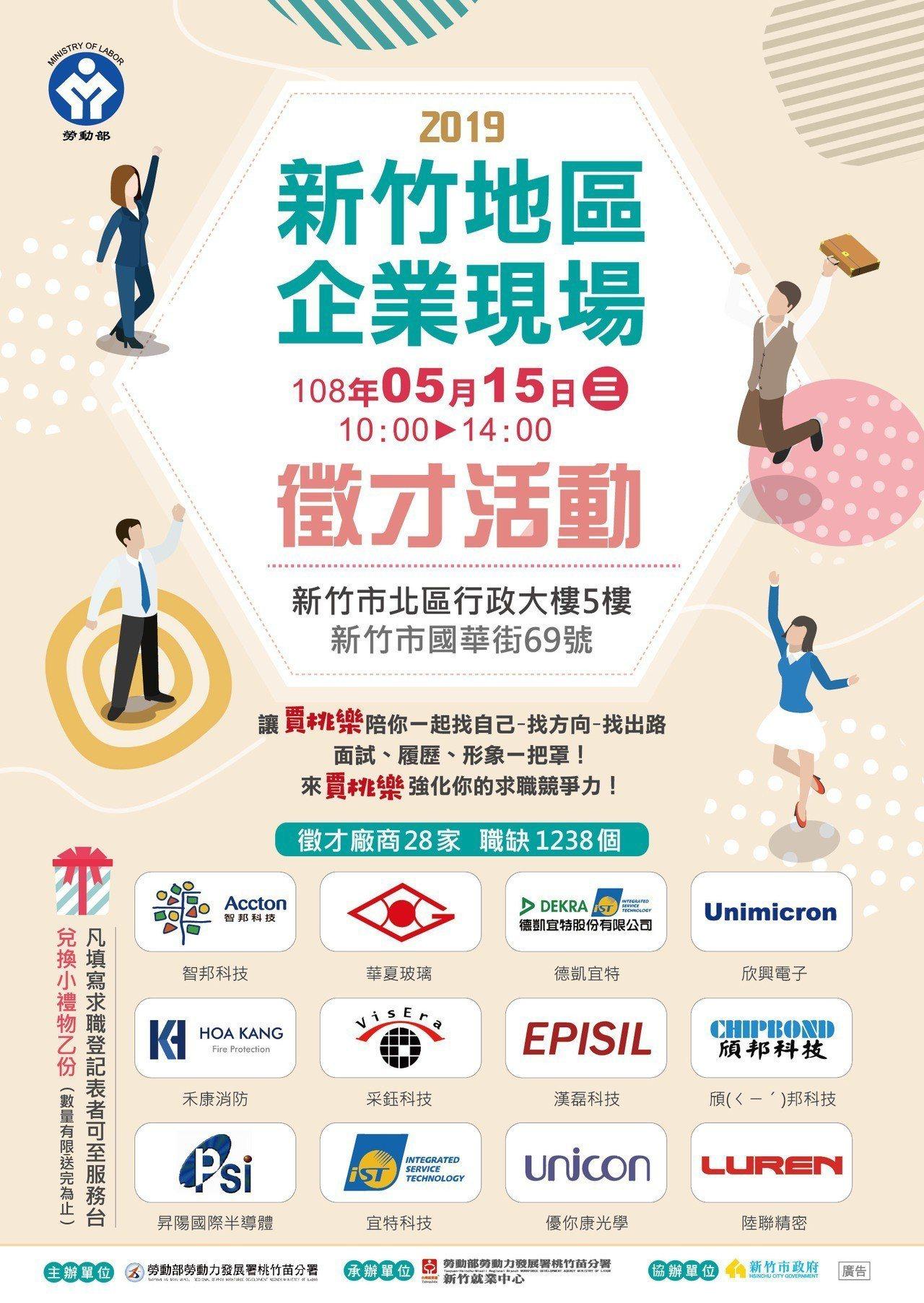 新竹企業徵才15日登場,釋1,238個職缺。圖/竹市府提供