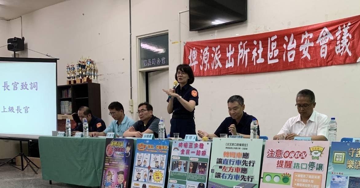 西螺警察分局長陳立祺(站立者)表示,將會加強該路段交通取締。圖/警方提供