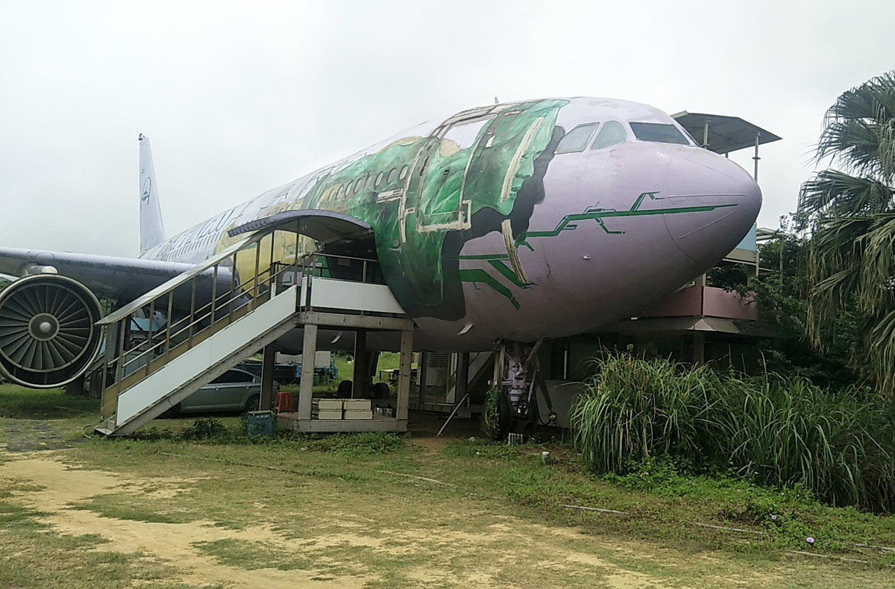 桃園市長美公司購買747客機計畫做為休閒農場景觀裝置,不料該客機在機場管制失竊,...