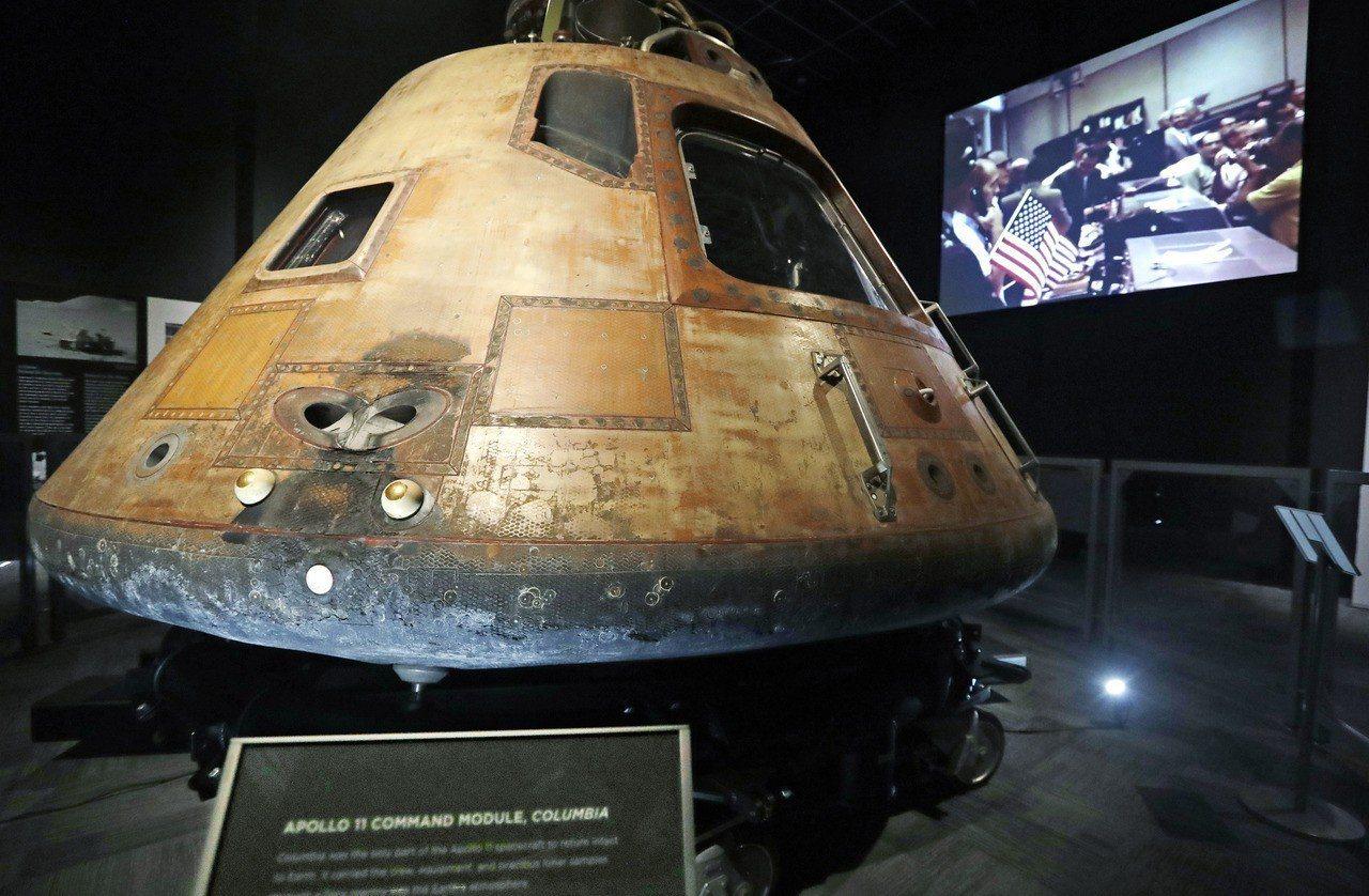 曾創造歷史的阿波羅11號太空艙哥倫比亞號,在西雅圖的飛行博物館展示。(美聯社)