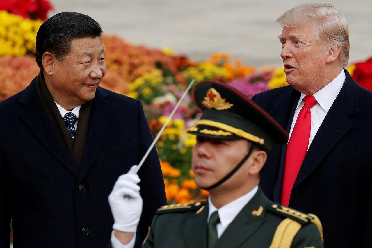 美國總統川普(右)與中國國家主席習近平。路透。