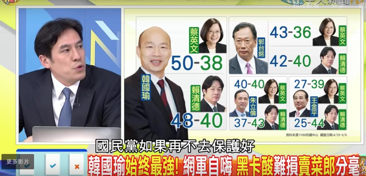 媒體人黃暐瀚在節目上表示國民黨應團結,保護好最強的選將。圖擷自YouTube