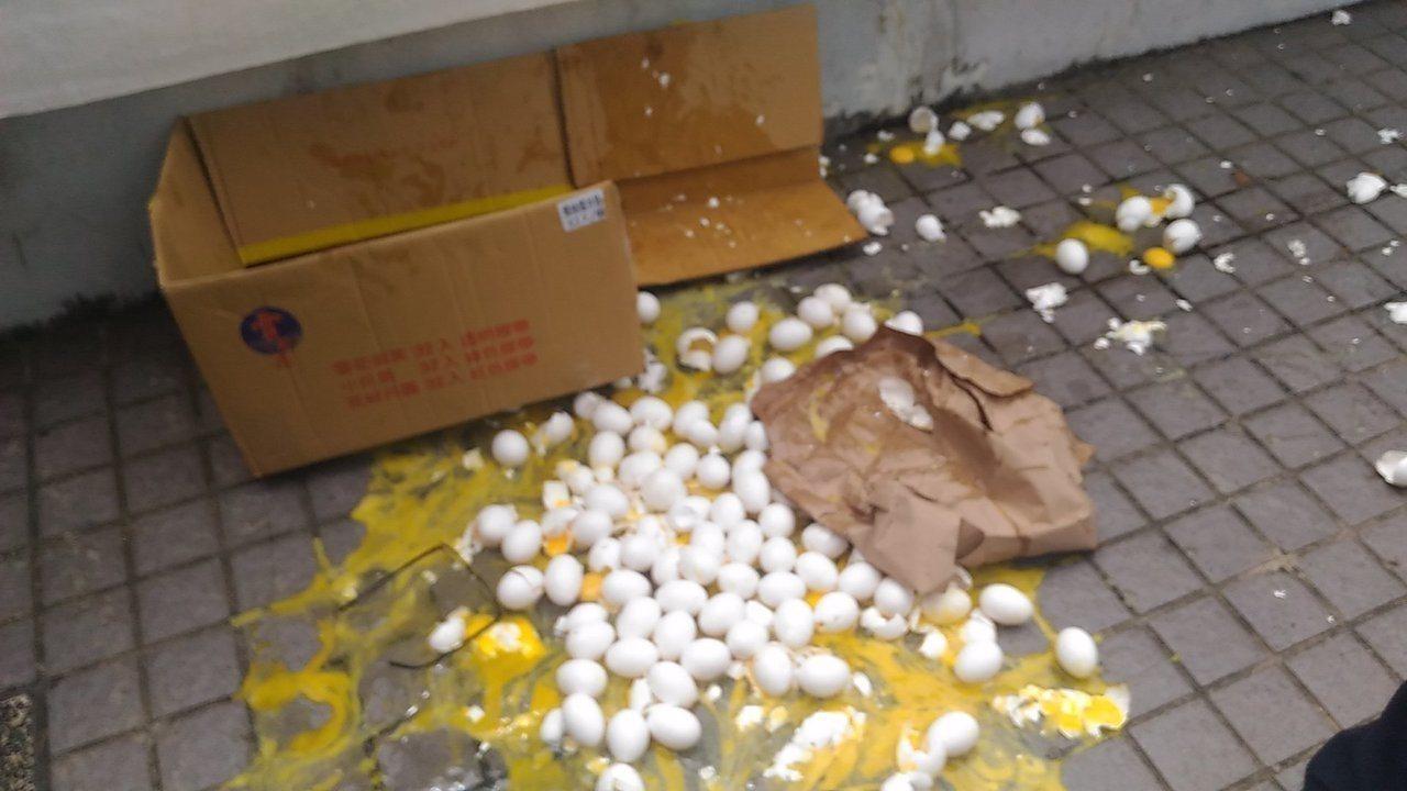 反業者在七股種電,漁民到台南市政府前丟雞蛋抗議。記者黃宣翰/攝影