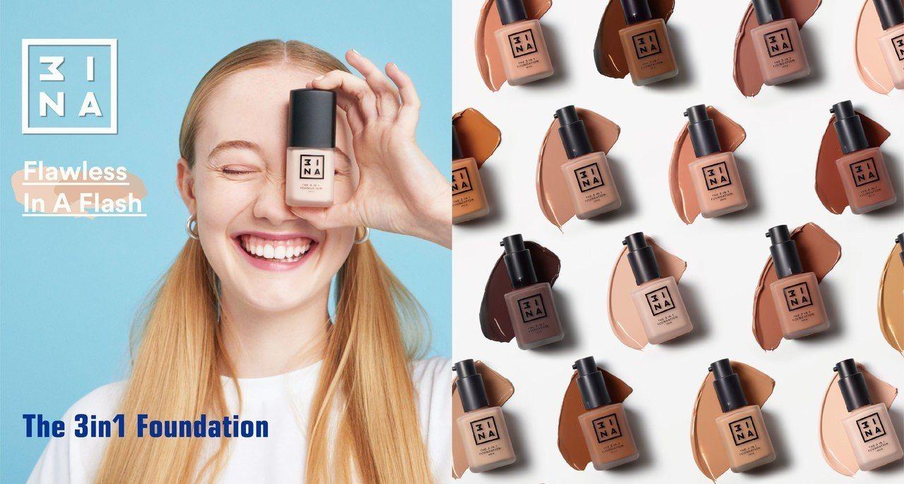 3INA全新 #零失控「3in1粉底液」,上妝菜鳥,也能成為底妝高手。圖/3IN...