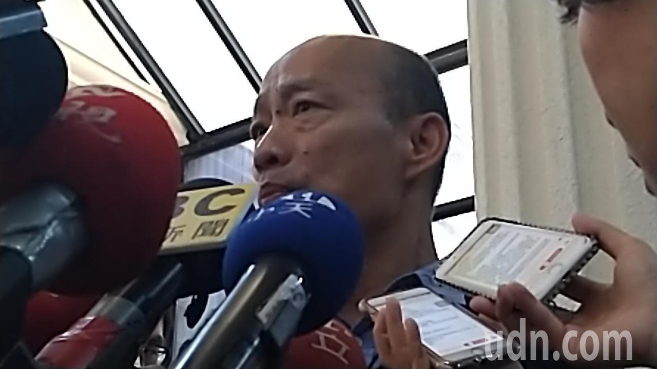 高市長韓國瑜上午在議會受訪。記者蔡孟妤/攝影
