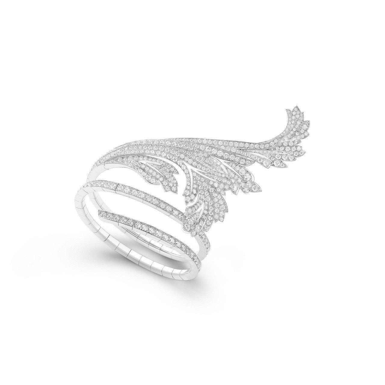 寶詩龍頂級珠寶系列FEUILLES DACANTHE手環,18K白金鑲嵌515顆...