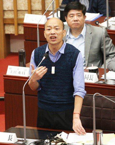 高雄市長韓國瑜昨天在議會答詢時表示,高銀放貸慶富集團案將移送檢調偵辦。記者劉學聖...