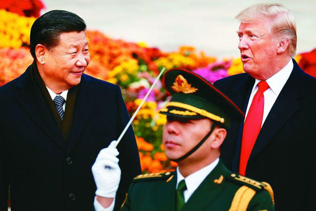 中美貿易戰越演越烈,大陸鷹派開始抬頭。圖為中共國家主席習近平(左)與美國總統川普...