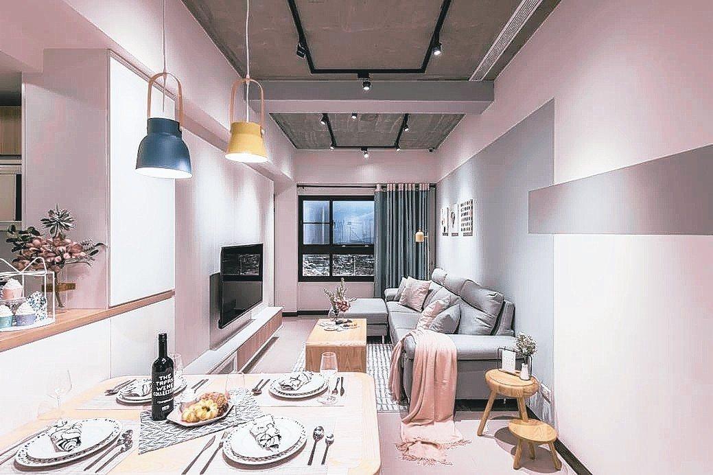 竹東「遠雄新時代」攜手歐德系統家具打造輕北歐風2房樣品屋。 業者/提供