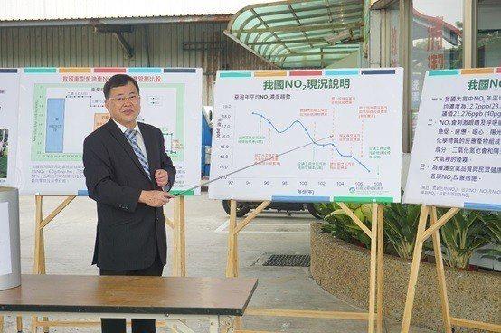 環保署空保處處長吳盛忠說明環保署改善空氣的執行成效。 楊連基/攝影