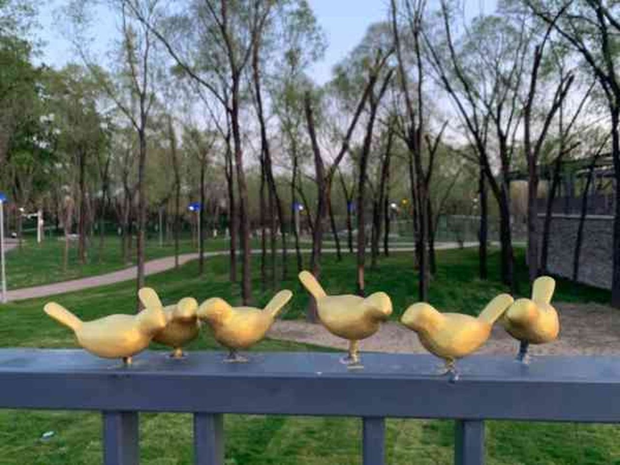 北京世園會濕地溪谷景點中用於裝飾欄杆的百餘隻金屬小鳥模型,日前僅「倖存」17隻。...