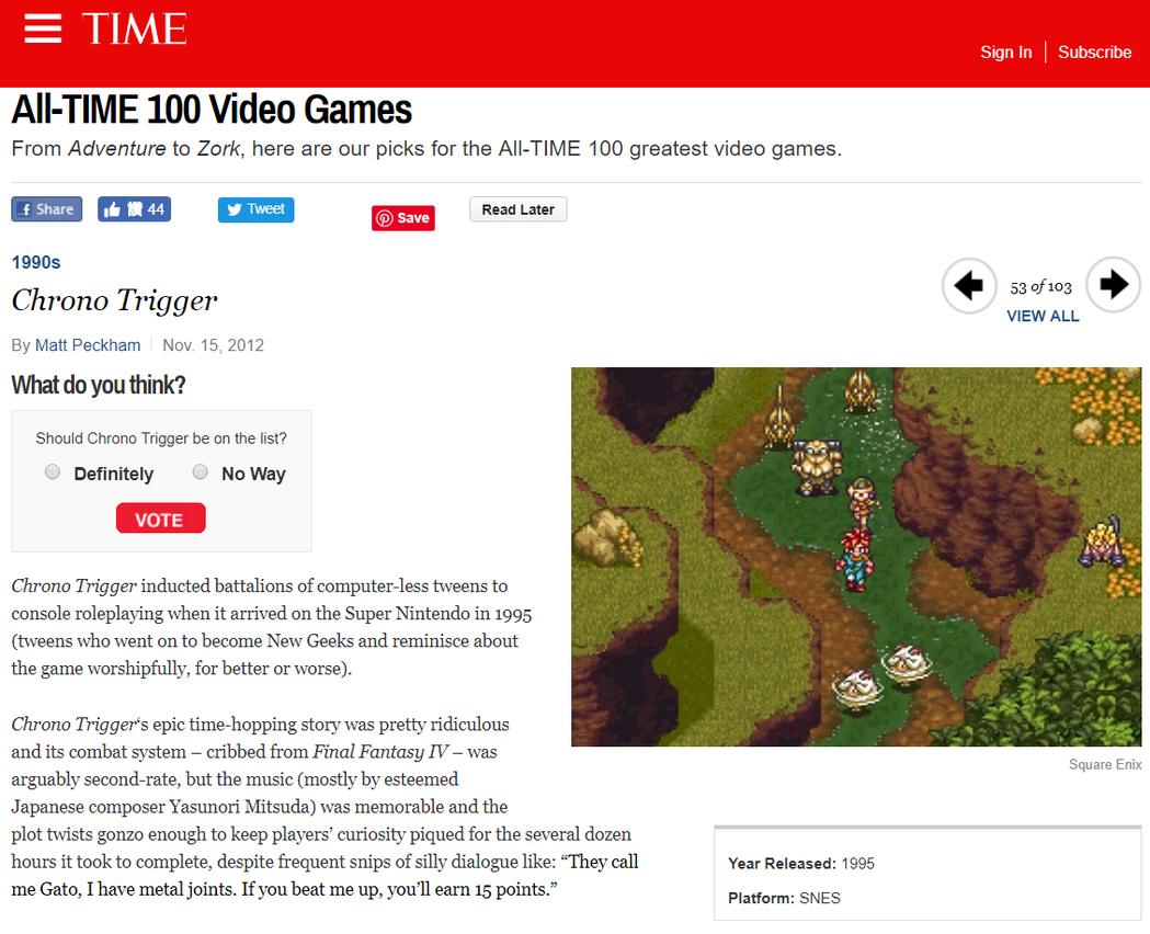 《超時空之鑰》也被《時代》雜誌選上,名列「世界 100 大遊戲」之一。