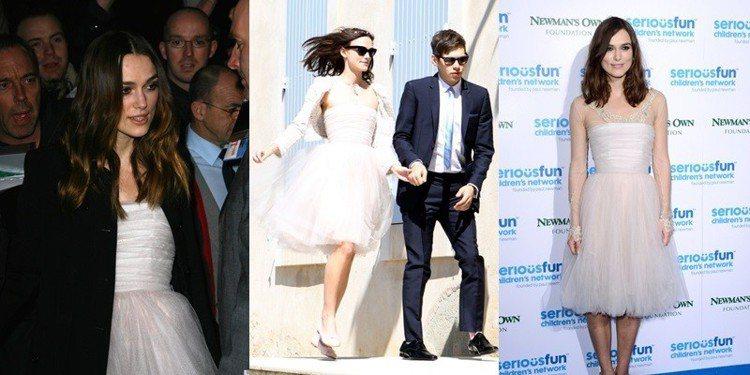 綺拉奈特莉穿舊衣結婚,婚後又繼續穿著結婚禮服出席正式活動。圖/擷自pintere...