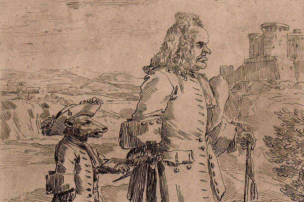 畫家蓋茲(Pier Leone Ghezzi)的作品《旅遊管理者》。卡通化的老人...