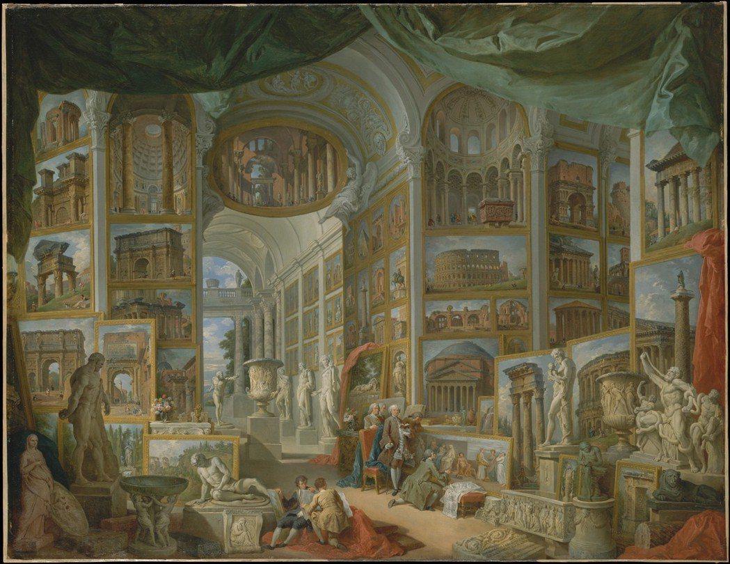 《古代羅馬》:採用與《現代羅馬》一模一樣的構圖概念,牆上繪畫都是城內知名古蹟的特...