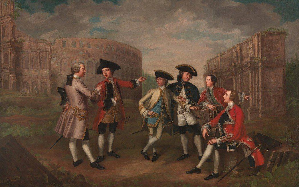 圖為描繪18世紀貴族子弟們遊歷羅馬的大旅遊。 圖/維基共享