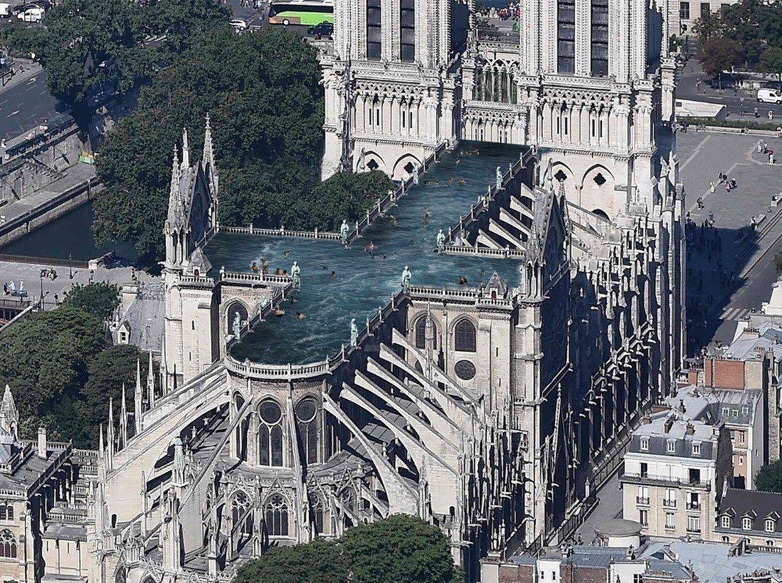 「尖塔不用重蓋,直接改成游泳池就好了!」目前最驚駭的提案是瑞典UMA建築公司,直...