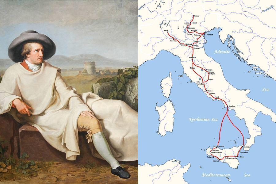 德國大文豪歌德也曾經壯遊。圖左為18世紀畫作《歌德在義大利》,圖右則為歌德自17...