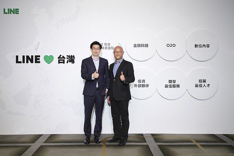 圖左為LINE共同執行長慎重熩,右為LINE台灣董事總經理陳立人 理財周刊/提供