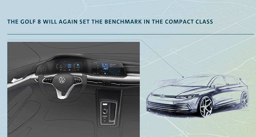 Volkswagen先前已公布了新世代Golf的外觀設計草圖與座艙設計圖。 摘自...