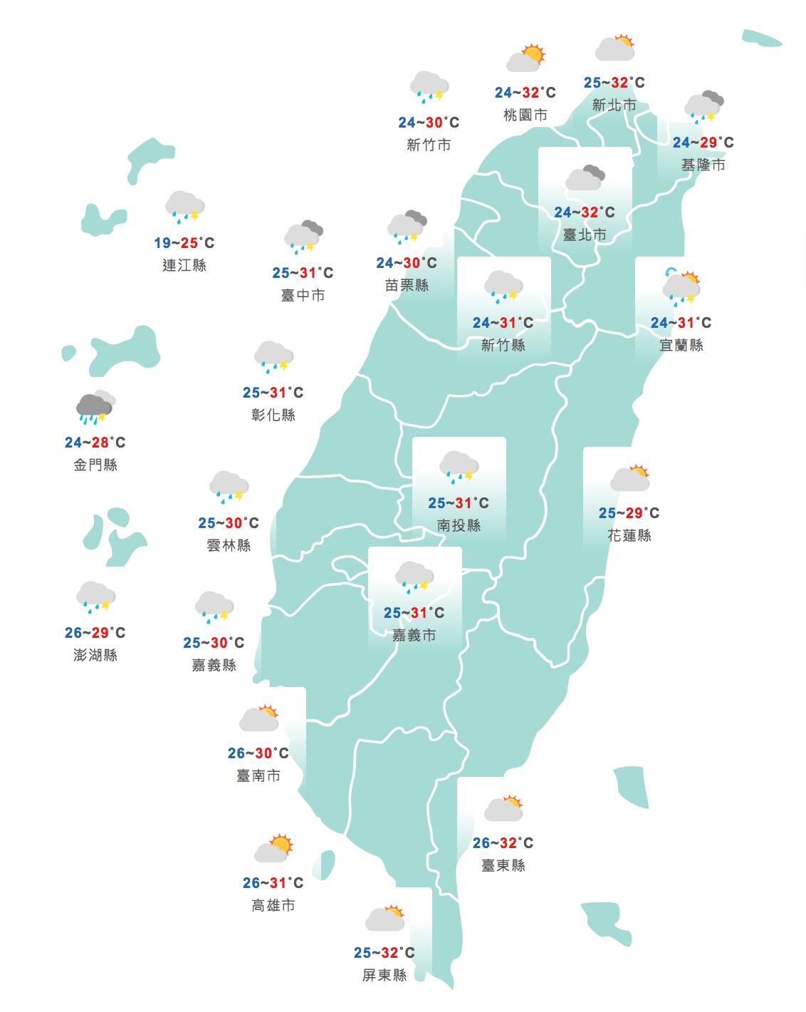 今天各地高溫普遍在30度以上。圖/取自中央氣象局網站