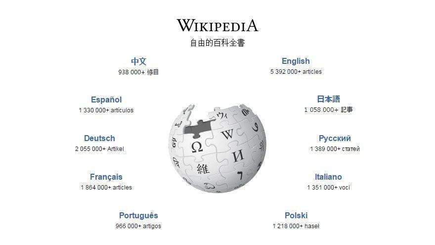 維基百科有各種語言版本。取自香港01