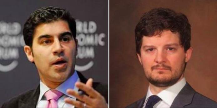 風靡TED講壇的全球策略顧問康納(左)說,美中貿易戰的贏家是東南亞國洲和歐洲。前...