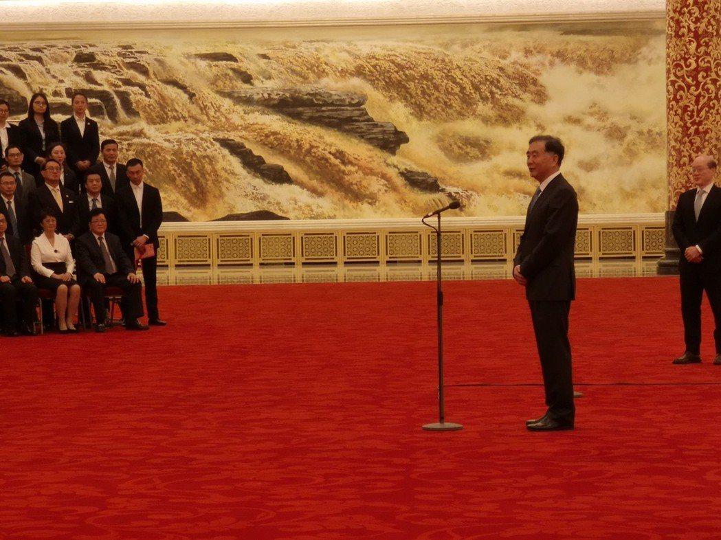 大陸全國政協主席汪洋今天在會見台企聯新一屆幹部。記者賴錦宏攝影