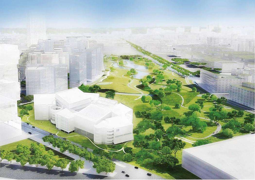 日本知名建築師妹島和世設計的台中綠美圖,用白色的金屬擴張網把方盒子建築物包覆起來...