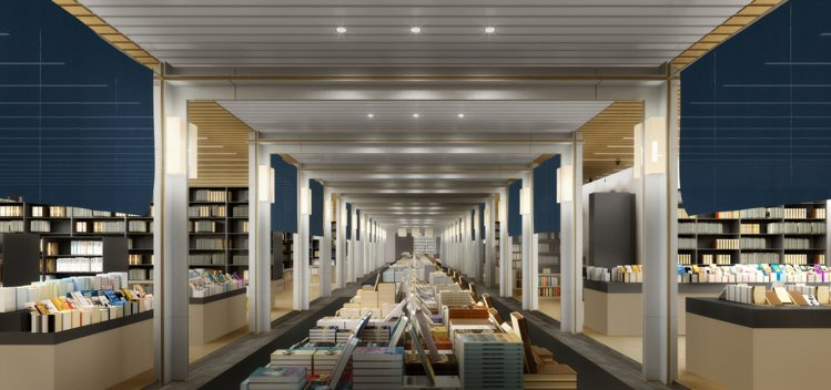 誠品生活日本橋書區,打造結構層次清晰的迴字廊道,搭配質地輕柔的日式暖簾。圖/誠品...