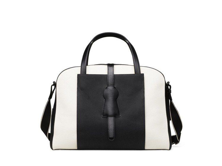 Magritte 24H黑白牛皮旅行袋,售價14萬7,100元。圖/DELVAU...