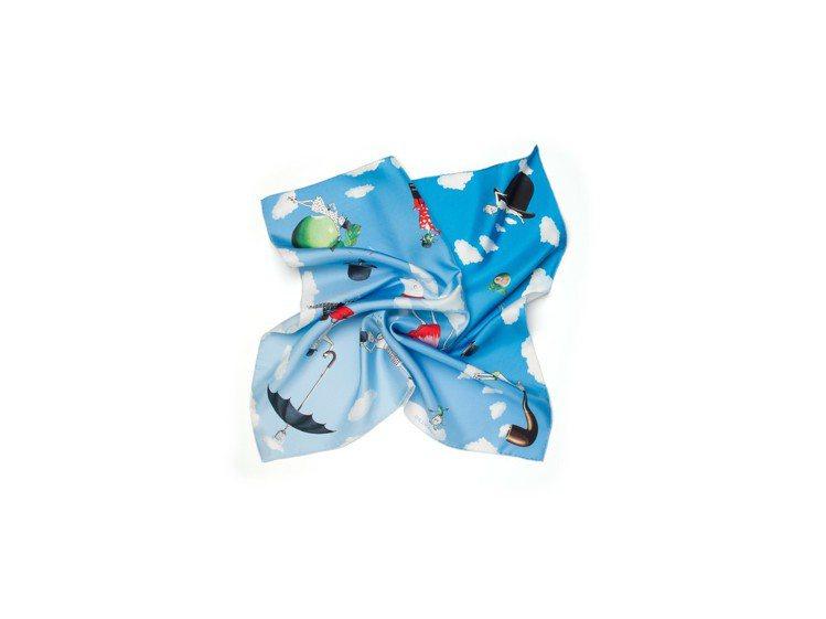 Magritte超現實圖騰絲巾,售價10,600元。圖/DELVAUX提供