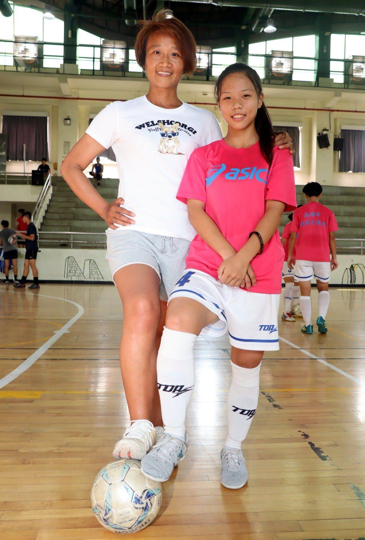 瑞祥女足隊教練謝麗娟(左)帶領球員前進2019年歐洲挪威盃國際女子足球U19分齡...