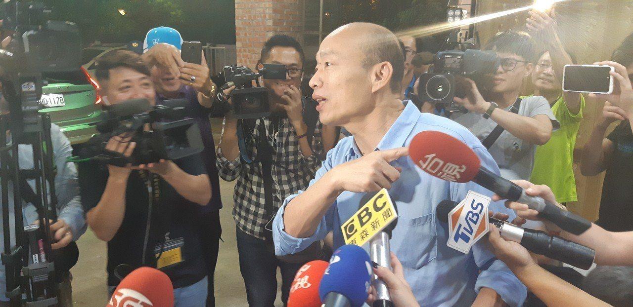 高雄市長韓國瑜被鴻海董事長郭台銘暗酸「只會說發大財」,他表示尊重。記者賴郁薇/攝...