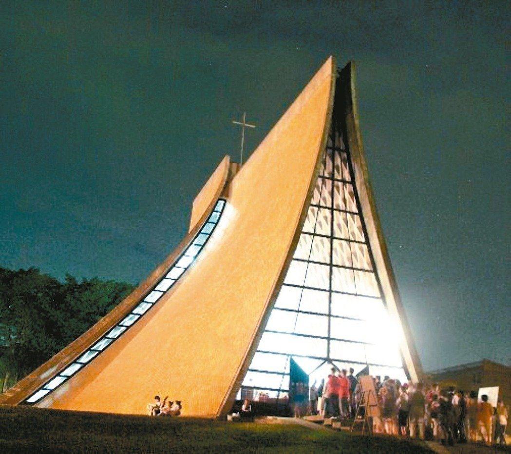 東海大學路思義教堂是貝聿銘的代表作品之一。 聯合報系資料照
