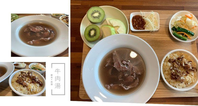 圖/台南經典的早餐牛肉湯。牛肉湯搭配肉燥飯和台式泡菜份量超多超級豐盛。網友2Y玩...