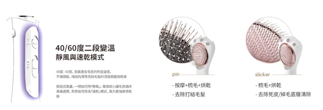 為毛孩打造的最適宜溫度與降噪靜風,兩種梳頭實現深層烘乾去廢毛。 Petaum T...