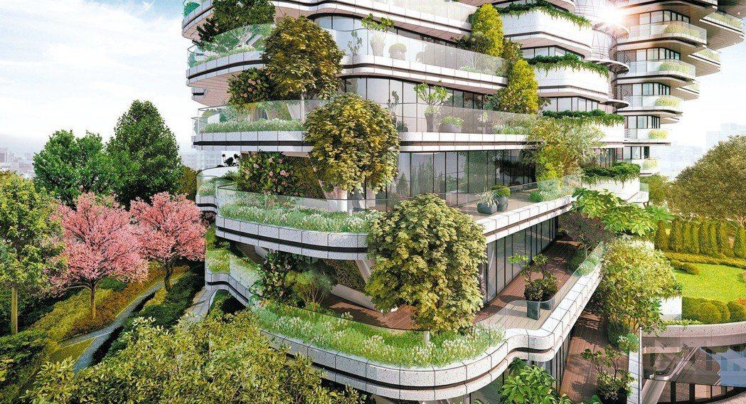 北市信義區的「陶朱隱園」大樓完工後局部種樹示意圖。 圖/威京總部集團提供