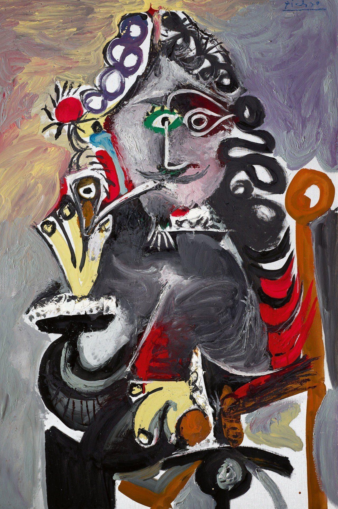 畢卡索1968年的晚年鉅作《火槍手與煙斗》如今由亞洲私人博物館典藏。圖/蘇富比提...