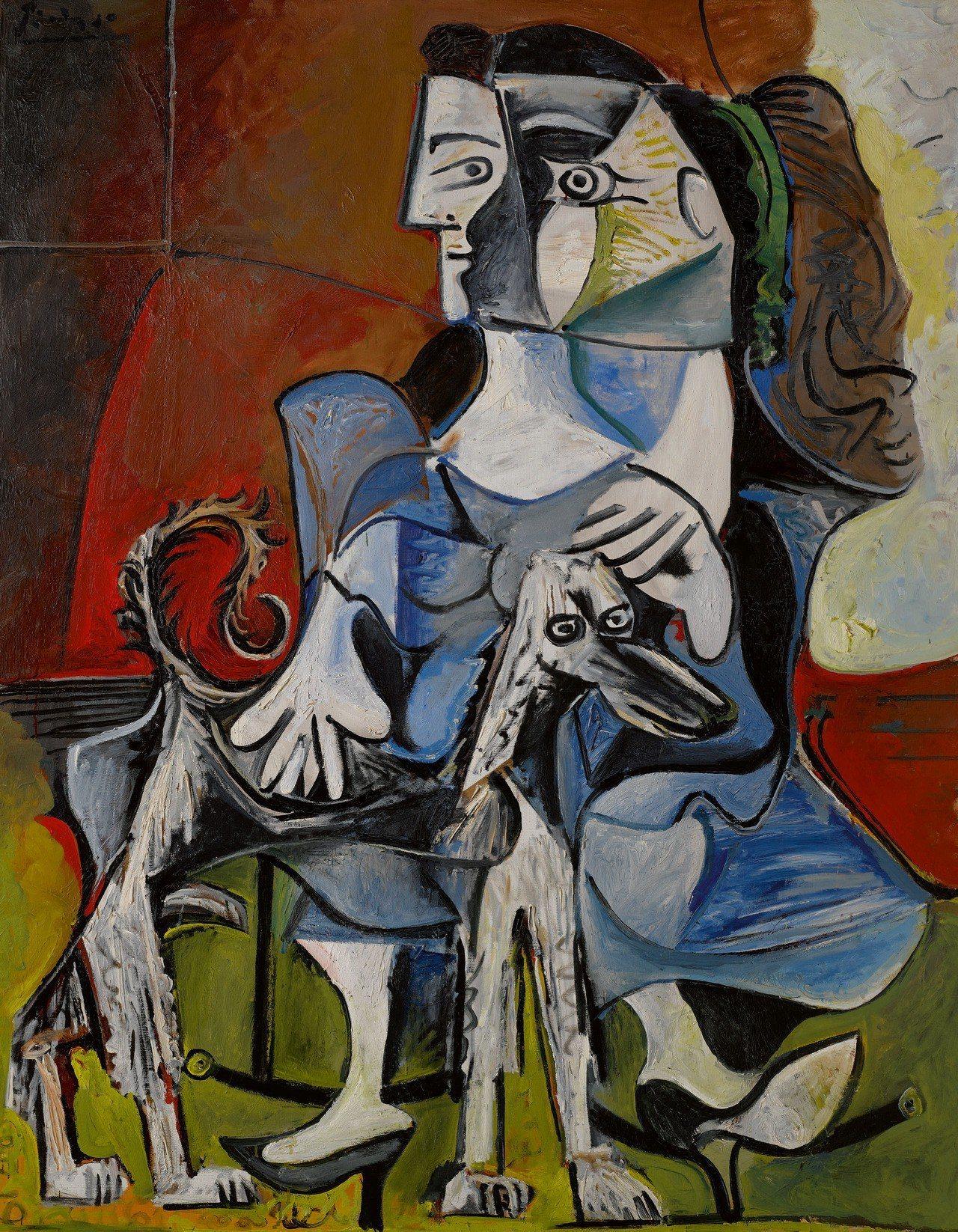 畢卡索1962年的《女子與狗》,以逾17億元成交價刷新1960年代作品記錄。圖/...