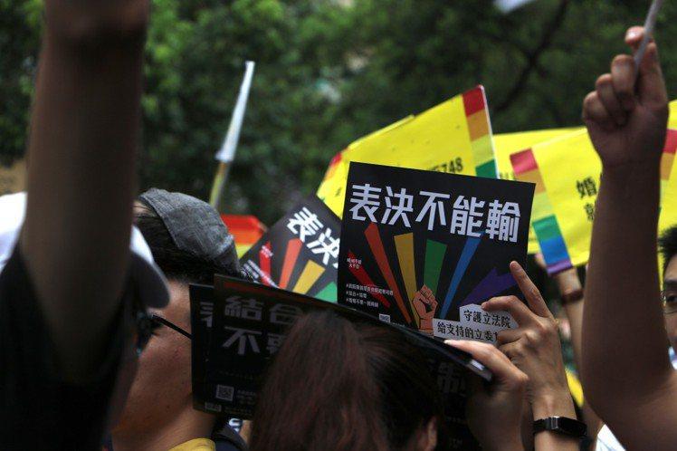 近4萬挺同支持者今聚集關注同婚專法逐條表決。婚姻平權大平台/提供