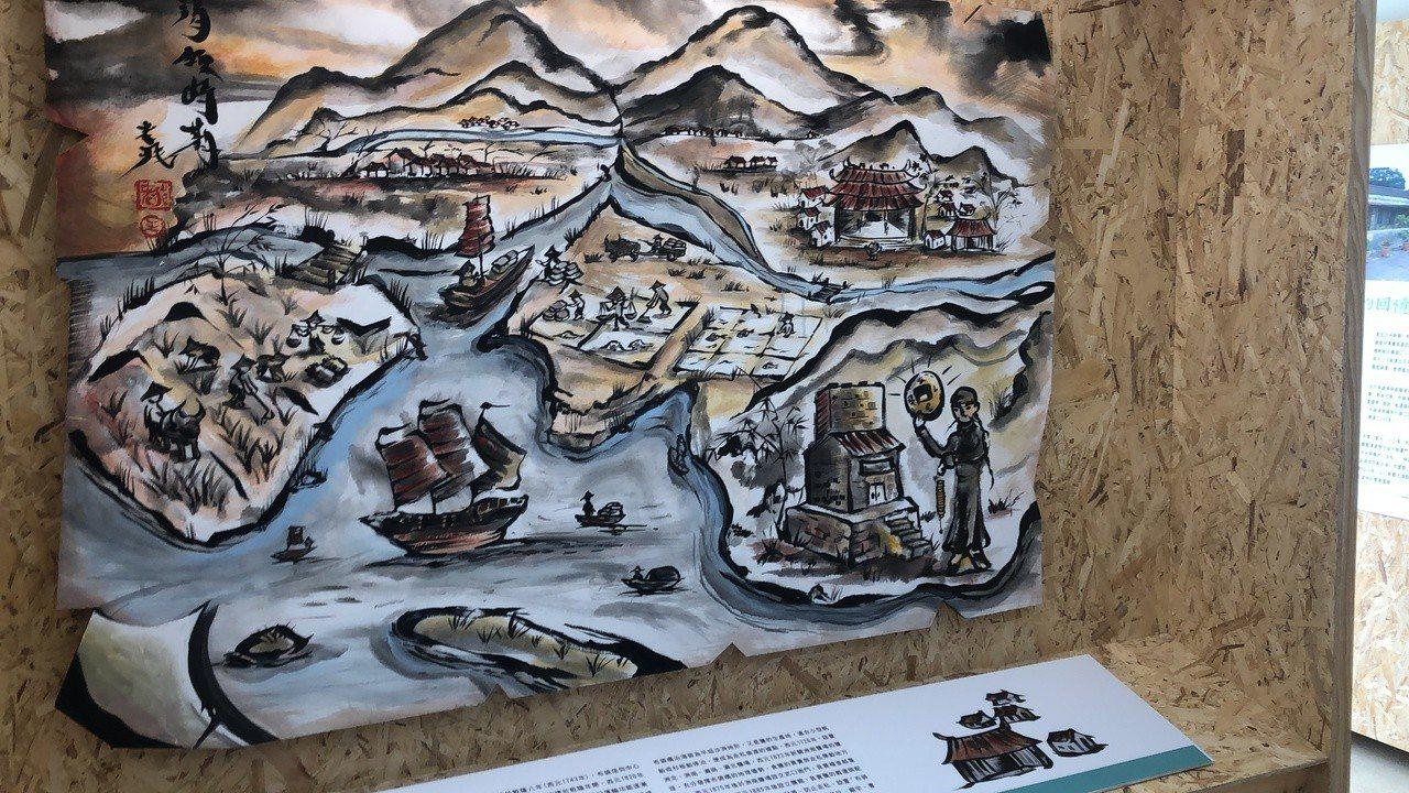 布袋五四三布袋小鎮展示所」(故事館)上午開幕,展示400年發展演變8大主題。記者...