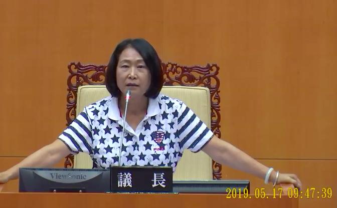 主持業務報告會議的縣議員唐玉琴,批蔣月惠沒禮貌愛作秀。記者江國豪/翻攝